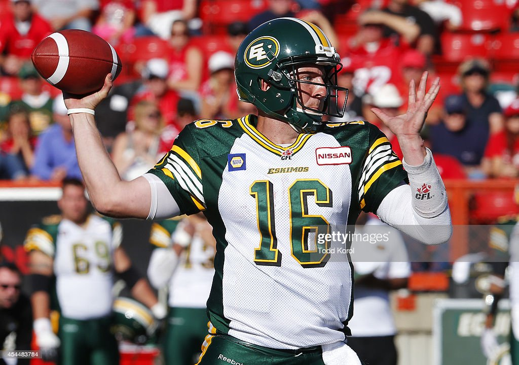 Quarterback Matt Nichols #16 of the Edmonton Eskimos throws a pass against the Calgary Stampeders in the second half of their CFL football game September 1, 2014 at McMahon Stadium in Calgary, Alberta, Canada.