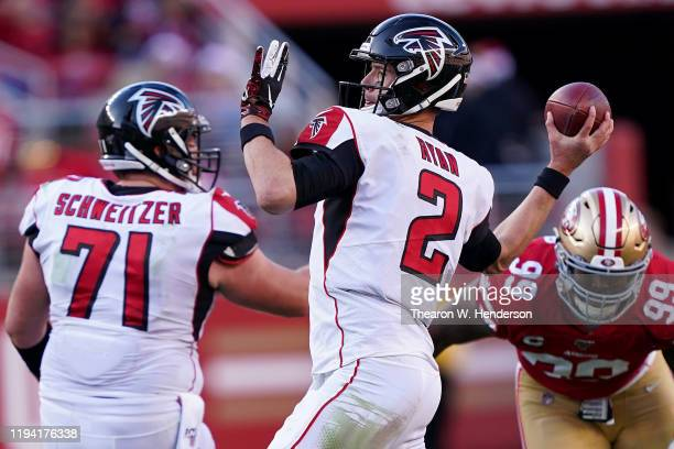 Quarterback Matt Ryan of the Atlanta Falcons delivers a pass against the defense of the San Francisco 49ers at Levi's Stadium on December 15, 2019 in...