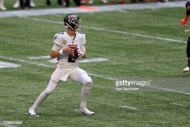 Quarterback Matt Ryan of the Atlanta Falcons drops back to pass during the week 9 NFL game between the Atlanta Falcons and the Denver Broncos on...