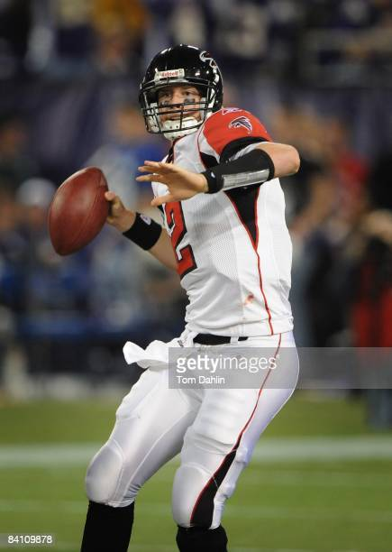 Quarterback Matt Ryan of the Atlanta Falcons drops back to pass the ball during an NFL game against the Minnesota Vikings at the Hubert H Humphrey...