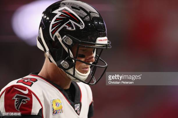 Quarterback Matt Ryan of the Atlanta Falcons during the NFL game against the Arizona Cardinals at State Farm Stadium on October 13, 2019 in Glendale,...
