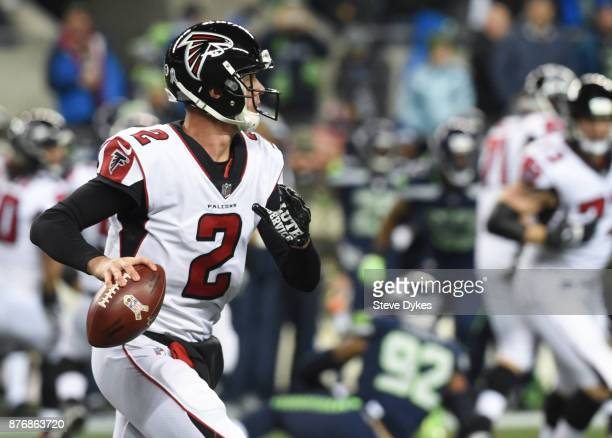 Quarterback Matt Ryan of the Atlanta Falcons looks to pass against the Seattle Seahawks during the first quarter of the game at CenturyLink Field on...