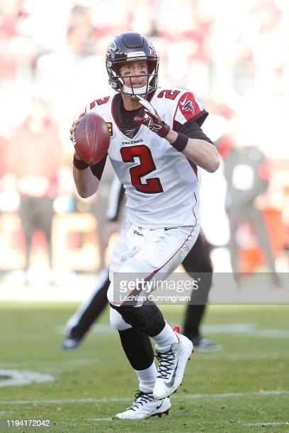 Quarterback Matt Ryan of the Atlanta Falcons looks to pass the ball in the second quarter against the San Francisco 49ers at Levi's Stadium on...