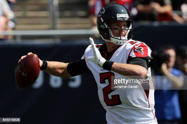 Quarterback Matt Ryan of the Atlanta Falcons looks to pass the football in the first quarter against the Chicago Bears at Soldier Field on September...