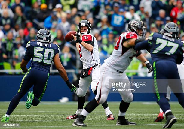 Quarterback Matt Ryan of the Atlanta Falcons passes against the Seattle Seahawks at CenturyLink Field on October 16 2016 in Seattle Washington