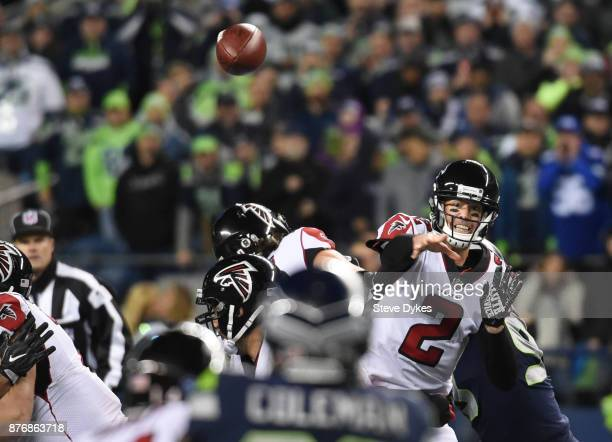 Quarterback Matt Ryan of the Atlanta Falcons passes against the Seattle Seahawks during the first quarter of the game at CenturyLink Field on...