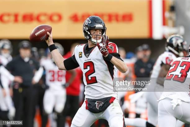 Quarterback Matt Ryan of the Atlanta Falcons passes the ball in the fourth quarter against the San Francisco 49ers at Levi's Stadium on December 15,...
