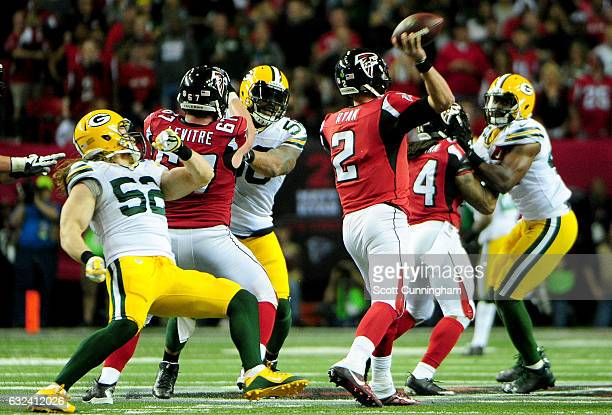 Quarterback Matt Ryan of the Atlanta Falcons passes the ball in the second quarter against the Green Bay Packers in the NFC Championship Game at the...