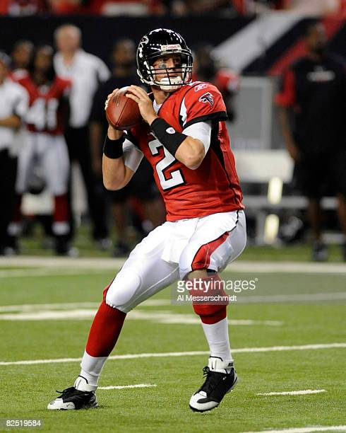 Quarterback Matt Ryan of the Atlanta Falcons sets to pass against the Tennessee Titans at the Georgia Dome on August 22 2008 in Atlanta Georgia