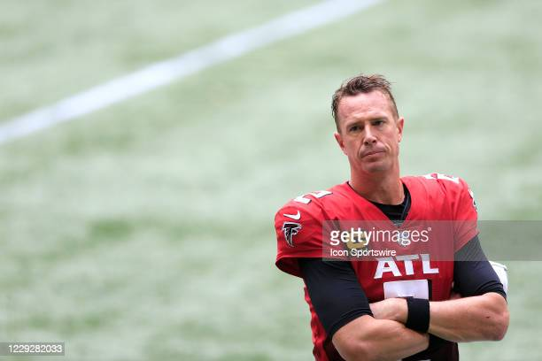 Quarterback Matt Ryan of the Atlanta Falcons watches the last 30 seconds of the week 7 NFL game between the Atlanta Falcons and the Detroit Lions on...