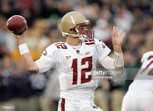 Quarterback Matt Ryan of the Boston College Eagles looks to pass the ball during the game against the Notre Dame Fighting Irish on October 13 2007 at...