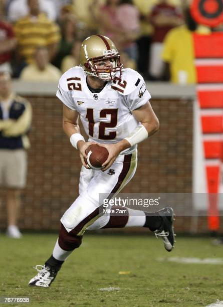 Quarterback Matt Ryan of the Boston College Eagles rolls out and looks downfield during the game against the Georgia Tech Yellow Jackets at Bobby...