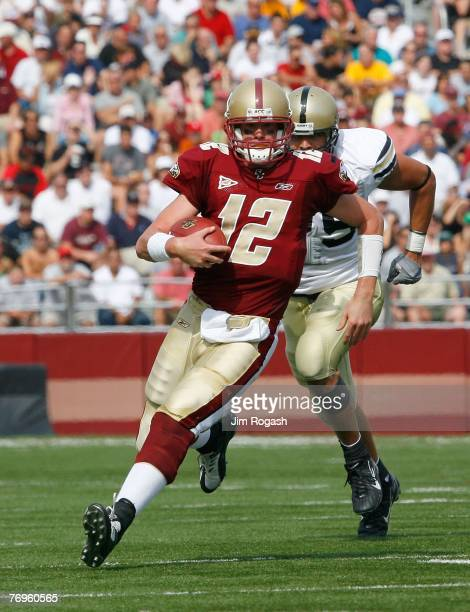 Quarterback Matt Ryan of the Boston College Eagles runs the ball against the Army Black Knights at Alumni Stadium September 22 2007 in Chestnut Hill...