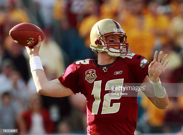 Quarterback Matt Ryan of the Boston College Eagles throws a pass late in the game against the Virginia Tech Hokies in the ACC Championship Game at...