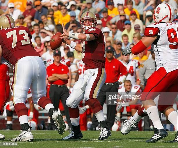 Quarterback Matt Ryan of the Boston College Eagles throws against the North Carolina Wolfpack at Alumni Stadium September 8, 2007 in Chestnut Hill,...