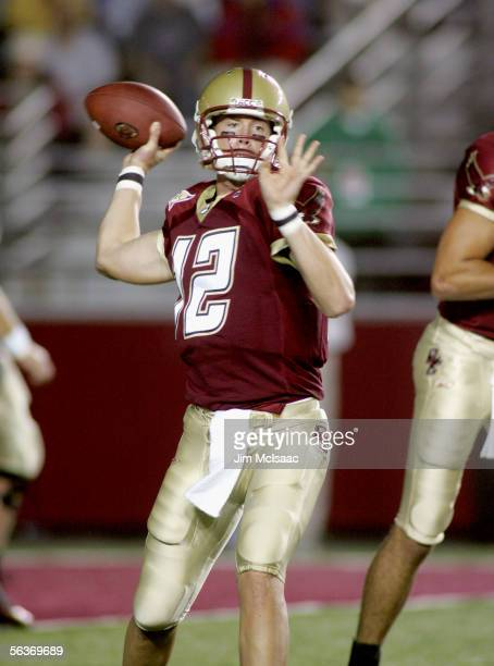 Quarterback Matt Ryan of the Boston College Eagles warms up against the Florida State Seminoles at Alumi Stadium on September 17, 2005 in Chestnut...