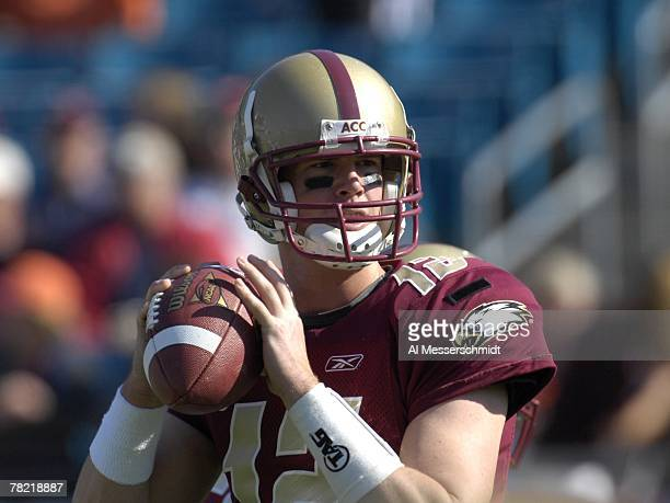 Quarterback Matt Ryan of the Boston College Eagles warms up for play against the Virginia Tech Hokies in the ACC Championship Game at Jacksonville...