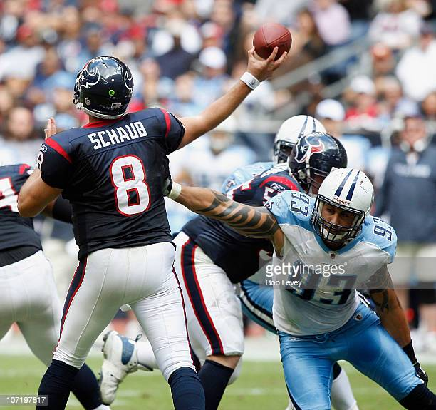 Quarterback Matt Schaub of the Houston Texans releases the ball before defensive end Jason Babin of the Tennessee Titans can get a hand on him at...
