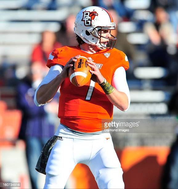 Quarterback Matt Schilz of the Bowling Green Falcons drops back to pass during a game with the Kent State Golden Flashes at Dolt L Perry Stadium in...