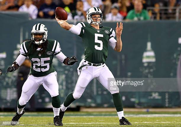 Quarterback Matt Simms of the New York Jets against the Indianapolis Colts during a preseason game at MetLife Stadium on August 7 2014 in East...