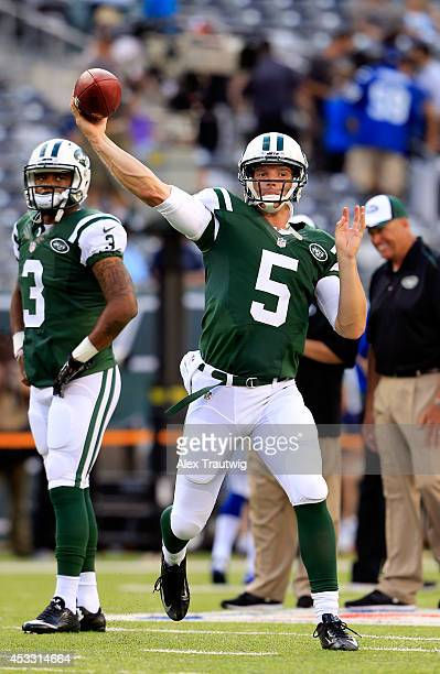 Quarterback Matt Simms of the New York Jets prior to a preseason game against the Indianapolis Colts at MetLife Stadium on August 7 2014 in East...