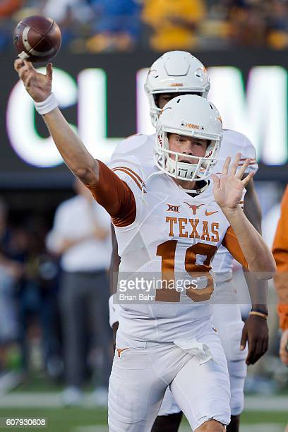 Quarterback Matthew Merrick of the Texas Longhorns warms up before a game against the California Golden Bears on September 17 2016 at California...