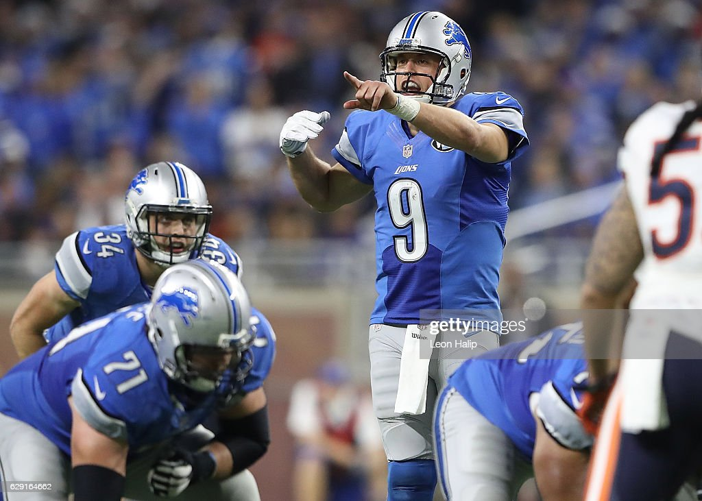 Quarterback Matthew Stafford #9 of the Detroit Lions directs his team against the Chicago Bears during fourth quarter action at Ford Field on December 11, 2016 in Detroit, Michigan.