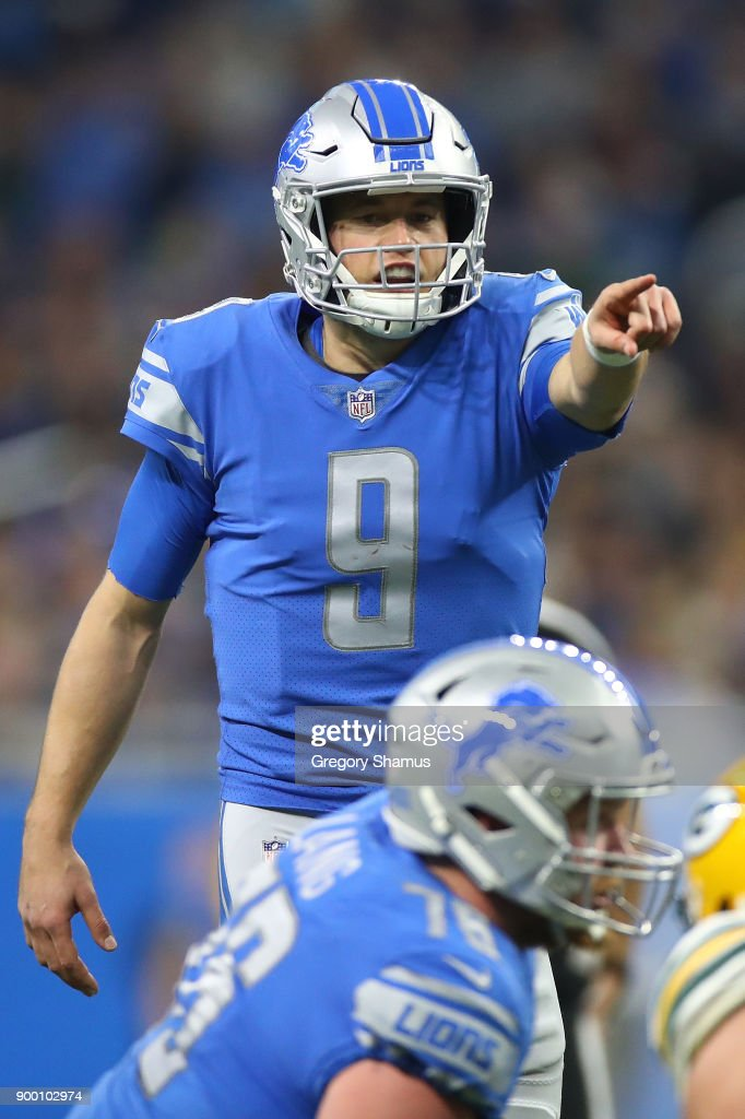 Quarterback Matthew Stafford #9 of the Detroit Lions directs his team against the Green Bay Packers during the first half at Little Caesars Arena on December 29, 2017 in Detroit, Michigan.