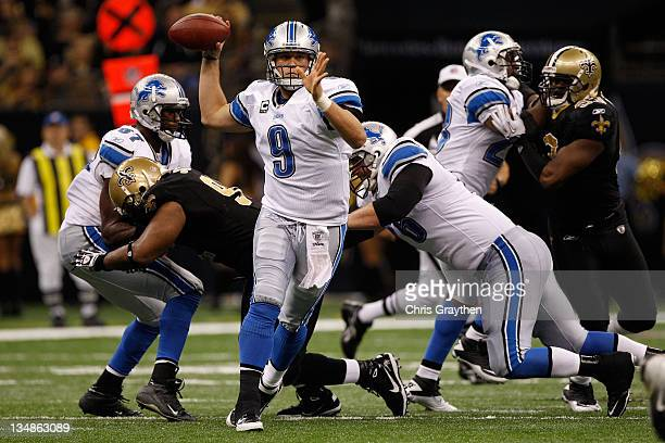 Quarterback Matthew Stafford of the Detroit Lions looks to pass against the New Orleans Saints in the third quarter at MercedesBenz Superdome on...