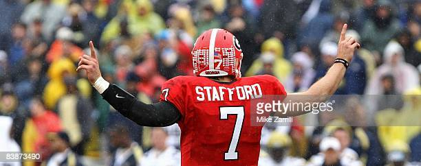 Quarterback Matthew Stafford of the Georgia Bulldogs calls a play during the game against the Georgia Tech Yellow Jackets at Sanford Stadium on...