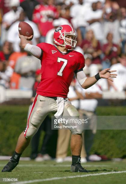 Quarterback Matthew Stafford of the Georgia Bulldogs passes the ball during the game against the Mississippi State Bulldogs on October 21 2006 at...
