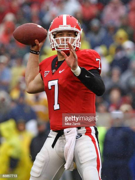 Quarterback Matthew Stafford of the Georgia Bulldogs threw for 407 yards and 5 touchdowns during the game against the Georgia Tech Yellow Jackets...