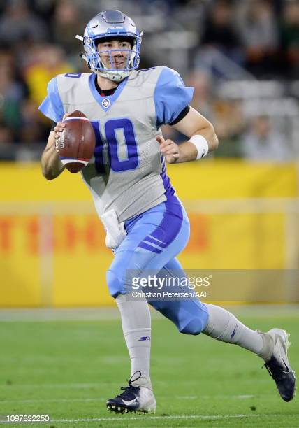 Quarterback Matt Linehan of the Salt Lake Stallions scrambles with the ball during the second half of the Alliance of American Football game against...
