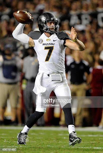 Quarterback Maty Mauk of the Missouri Tigers attempts a pass against the South Carolina Gamecocks during the first quarter on September 27 2014 at...