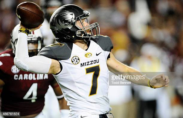 Quarterback Maty Mauk of the Missouri Tigers attempts to make a pass against the South Carolina Gamecocks during the third quarter on September 27...