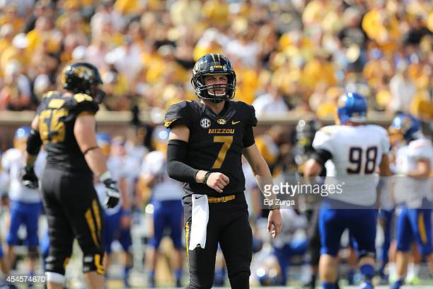 Quarterback Maty Mauk of the Missouri Tigers in action against the South Dakota State Jackrabbits at Memorial Stadium on August 30 2014 in Columbia...