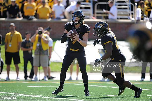 Quarterback Maty Mauk of the Missouri Tigers in action against the Connecticut Huskies at Memorial Stadium on September 19 2015 in Columbia Missouri