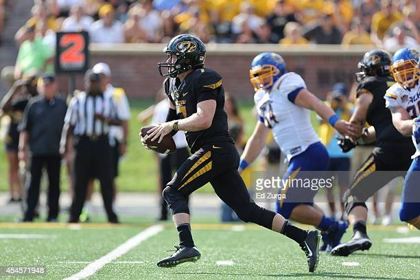 Quarterback Maty Mauk of the Missouri Tigers in action during a game against the South Dakota State Jackrabbits at Memorial Stadium on August 30 2014...