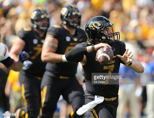 Quarterback Maty Mauk of the Missouri Tigers looks to pass against the South Dakota State Jackrabbits in the second quarter at Memorial Stadium on...