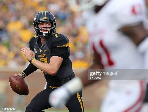 Quarterback Maty Mauk of the Missouri Tigers looks to pass against the Indiana Hoosiers in the second quarter at Memorial Stadium on September 20...