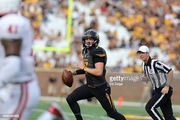Quarterback Maty Mauk of the Missouri Tigers looks to pass against the Indiana Hoosiers at Memorial Stadium on September 20 2014 in Columbia Missouri