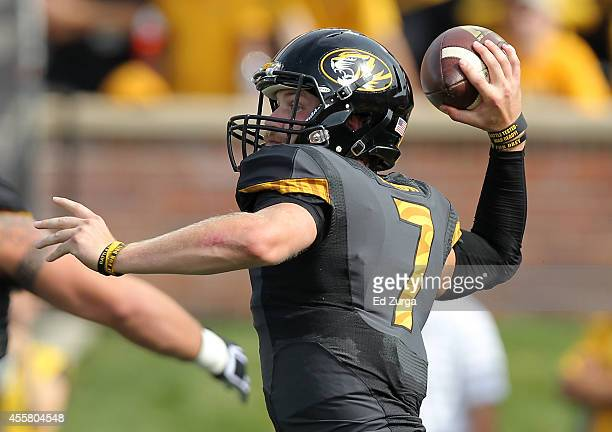 Quarterback Maty Mauk of the Missouri Tigers passes against the Indiana Hoosiers in the first quarter at Memorial Stadium on September 20 2014 in...
