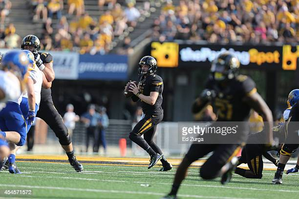 Quarterback Maty Mauk of the Missouri Tigers passes during a game against the South Dakota State Jackrabbits at Memorial Stadium on August 30 2014 in...
