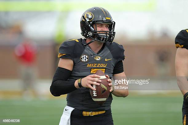 Quarterback Maty Mauk of the Missouri Tigers throws the ball as he warms up prior to a game against the Indiana Hoosiers at Memorial Stadium on...
