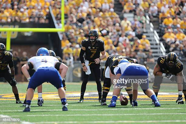 Quarterback Maty Mauk of the Missouri Tigers waits for a snap against the South Dakota State Jackrabbits at Memorial Stadium on August 30 2014 in...