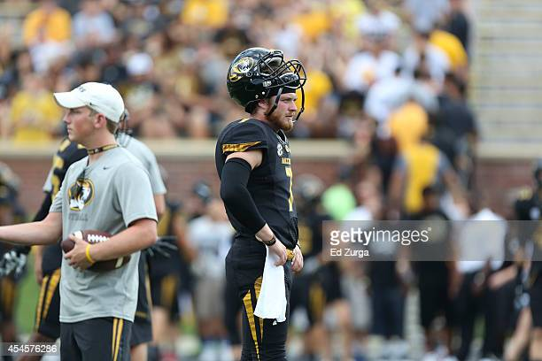 Quarterback Maty Mauk of the Missouri Tigers warms up prior to a game against the South Dakota State Jackrabbits at Memorial Stadium on August 30...