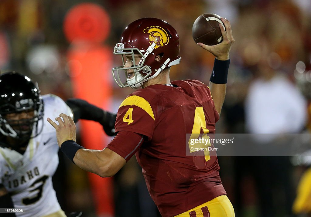 Quarterback Max Browne #4 of the USC Trojans throws a pass against the Idaho Vandals at Los Angeles Memorial Coliseum on September 12, 2015 in Los Angeles, California. USC won 59-9.