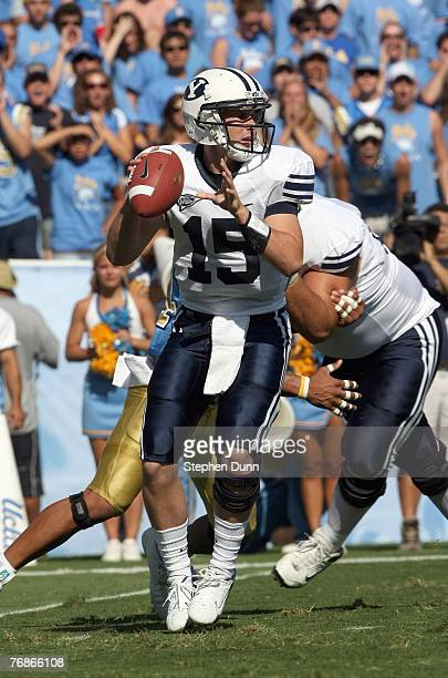 Quarterback Max Hall of the BYU Cougars throws a pass against the UCLA Bruins on September 8, 2007 at the Rose Bowl in Pasadena, California. UCLA won...