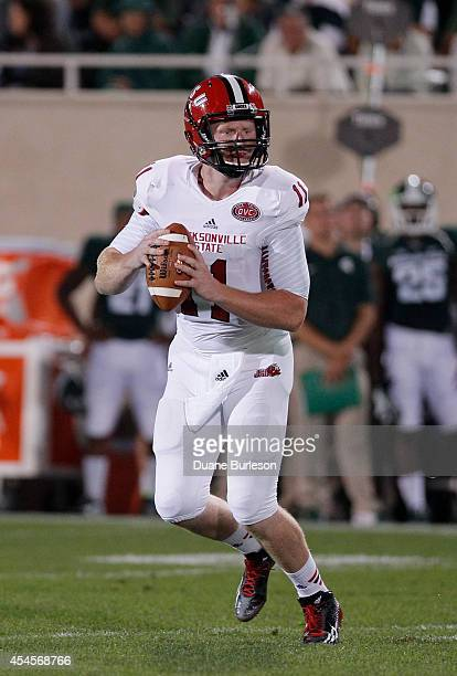 Quarterback Max Shortell of the Jacksonville State Gamecocks looks to pass against the Michigan State Spartans during the second half at Spartan...