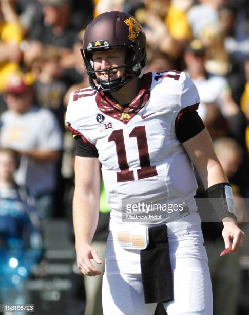 Quarterback Max Shortell of the Minnesota Gophers during the first quarter against the Iowa Hawkeyes on September 29 2012 at Kinnick Stadium in Iowa...